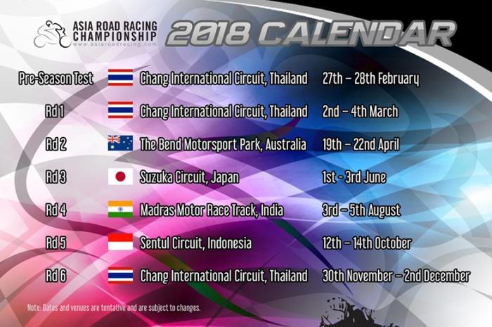 Kalender ARRC 2018 1