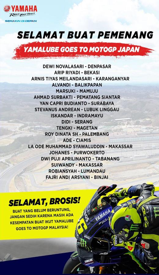 Daftar Pemenang Nonton MotoGP Yamaha 2019